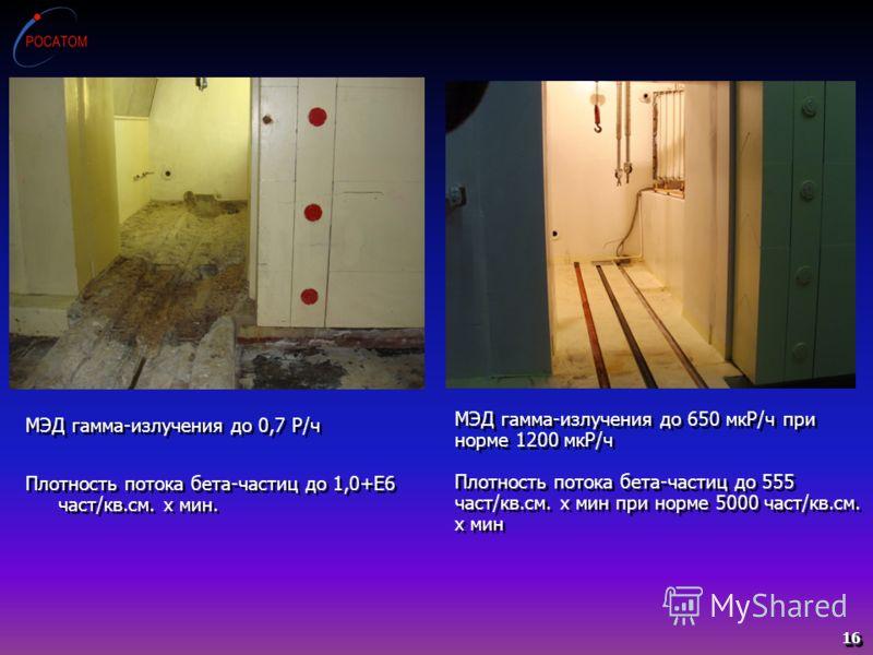 МЭД гамма-излучения до 650 мкР/ч при норме 1200 мкР/ч Плотность потока бета-частиц до 555 част/кв.см. х мин при норме 5000 част/кв.см. х мин МЭД гамма-излучения до 0,7 Р/ч Плотность потока бета-частиц до 1,0+Е6 част/кв.см. х мин. МЭД гамма-излучения