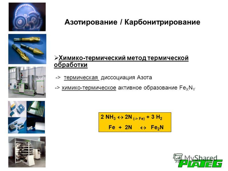 Химико-термический метод термической обработки -> термическая диссоциация Азота -> химико-термическое активное образование Fe X N Y 2 NH 3 2N (-> Fe) + 3 H 2 Fe + 2N Fe 2 N Азотирование / Карбонитрирование