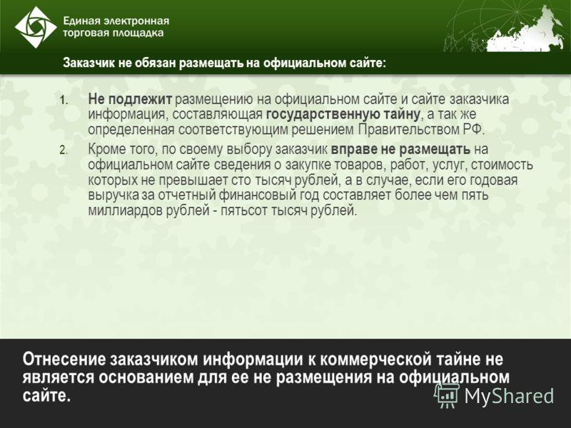 Заказчик не обязан размещать на официальном сайте: 1. Не подлежит размещению на официальном сайте и сайте заказчика информация, составляющая государственную тайну, а так же определенная соответствующим решением Правительством РФ. 2. Кроме того, по св