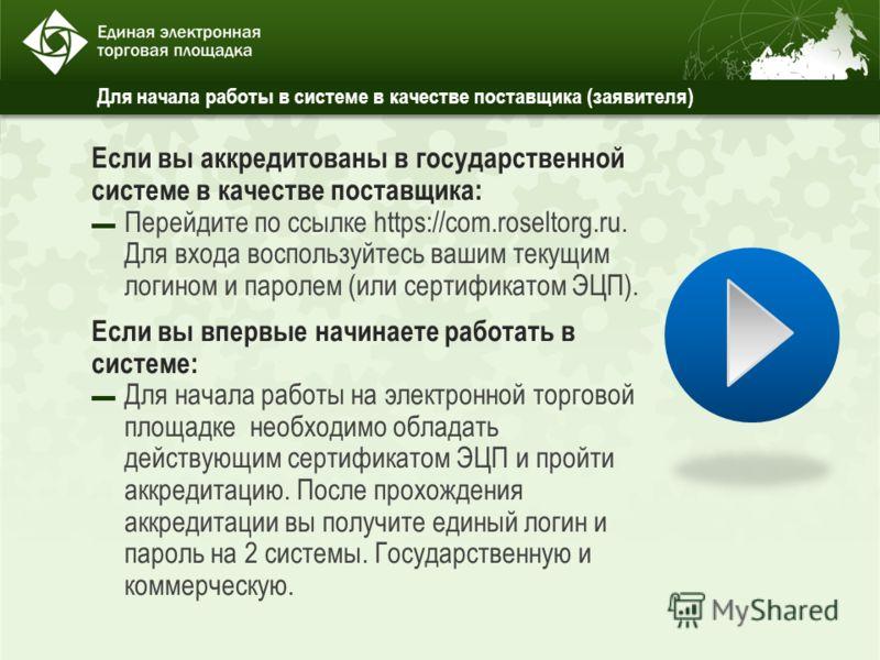 Для начала работы в системе в качестве поставщика (заявителя) Если вы аккредитованы в государственной системе в качестве поставщика: Перейдите по ссылке https://com.roseltorg.ru. Для входа воспользуйтесь вашим текущим логином и паролем (или сертифика
