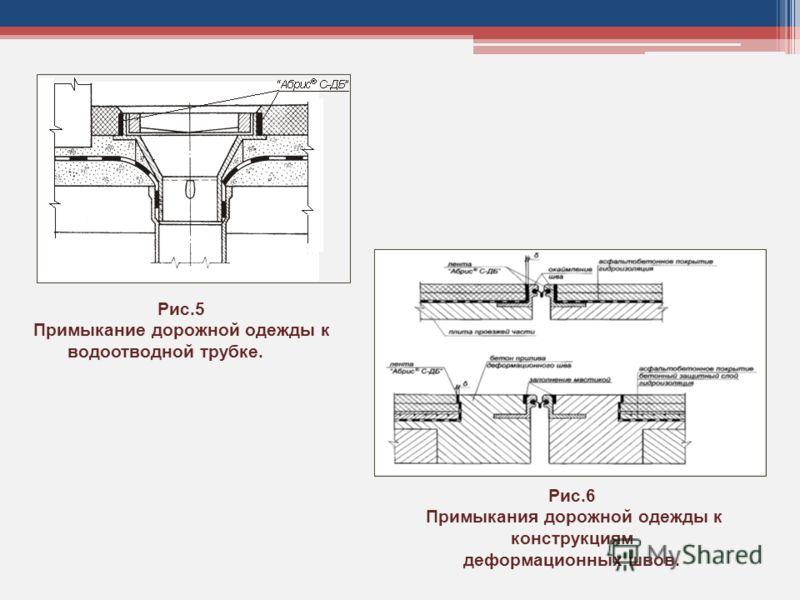 Рис.6 Примыкания дорожной одежды к конструкциям деформационных швов. Рис.5 Примыкание дорожной одежды к водоотводной трубке.