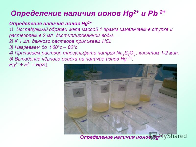 Определение наличия ионов Hg 2+ и Pb 2+ Определение наличия ионов Hg 2+ 1)Исследуемый образец мела массой 1 грамм измельчаем в ступке и растворяем в 2 мл. дистиллированной воды. 2) К 1 мл. данного раствора приливаем HCl. 3) Нагреваем до t 60°с – 80°с