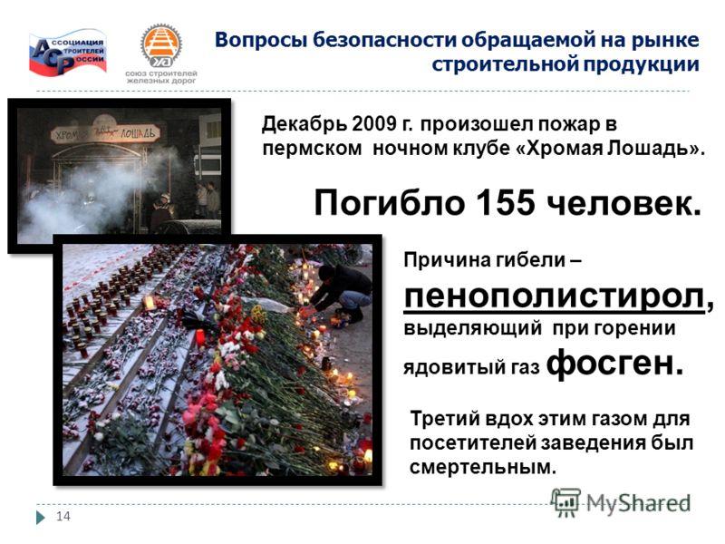 14 Декабрь 2009 г. произошел пожар в пермском ночном клубе «Хромая Лошадь». Погибло 155 человек. Причина гибели – пенополистирол, выделяющий при горении ядовитый газ фосген. Третий вдох этим газом для посетителей заведения был смертельным. Вопросы бе