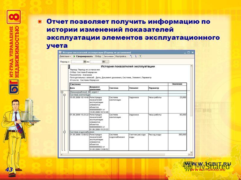 43 Отчет позволяет получить информацию по истории изменений показателей эксплуатации элементов эксплуатационного учета