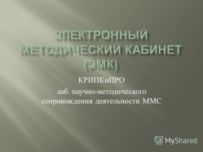 КРИПКиПРО лаб. научно - методического сопровождения деятельности ММС