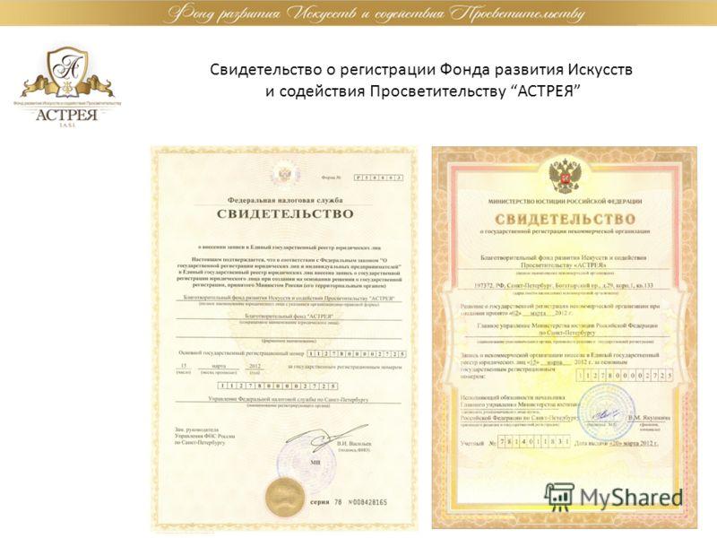 Свидетельство о регистрации Фонда развития Искусств и содействия Просветительству АСТРЕЯ