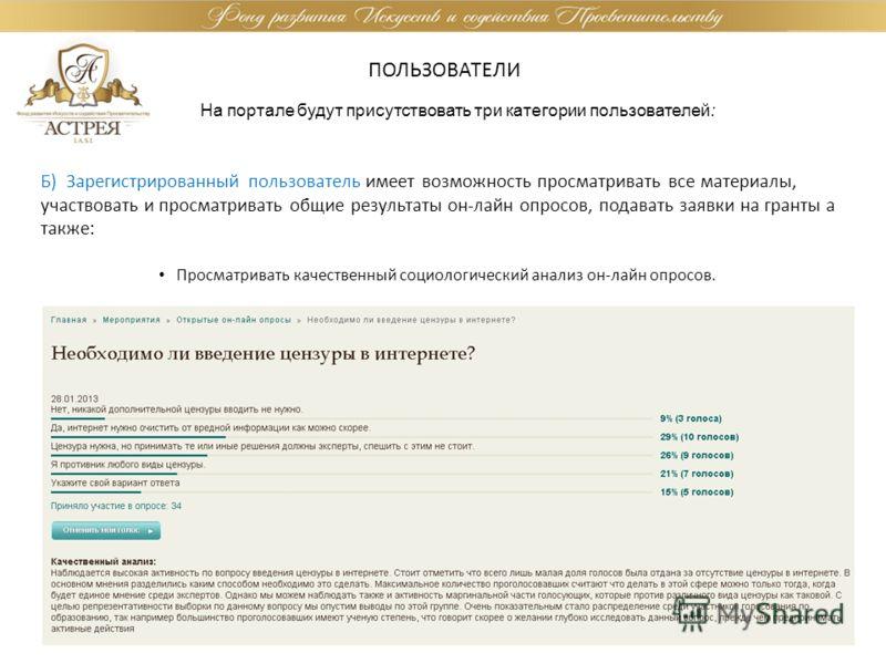 ПОЛЬЗОВАТЕЛИ На портале будут присутствовать три категории пользователей: Б) Зарегистрированный пользователь имеет возможность просматривать все материалы, участвовать и просматривать общие результаты он-лайн опросов, подавать заявки на гранты а такж
