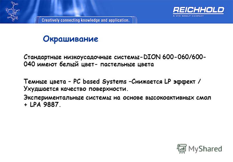 Окрашивание Стандартные низкоусадочные системы-DION 600-060/600- 040 имеют белый цвет- пастельные цвета Темные цвета – PC based Systems –Снижается LP эффект / Ухудшается качество поверхности. Экспериментальные системы на основе высокоактивных смол +