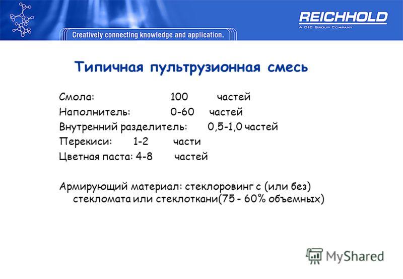 Типичная пультрузионная смесь Смола: 100 частей Наполнитель:0-60 частей Внутренний разделитель:0,5-1,0 частей Перекиси:1-2 части Цветная паста: 4-8 частей Армирующий материал: стеклоровинг с (или без) стекломата или стеклоткани(75 - 60% объемных)