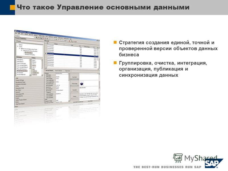 Что такое Управление основными данными Стратегия создания единой, точной и проверенной версии объектов данных бизнеса Группировка, очистка, интеграция, организация, публикация и синхронизация данных