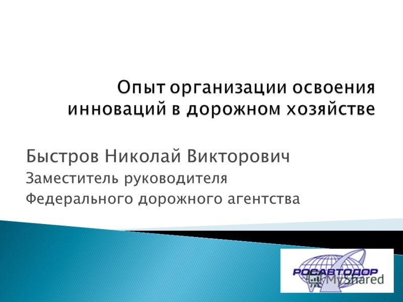 Быстров Николай Викторович Заместитель руководителя Федерального дорожного агентства