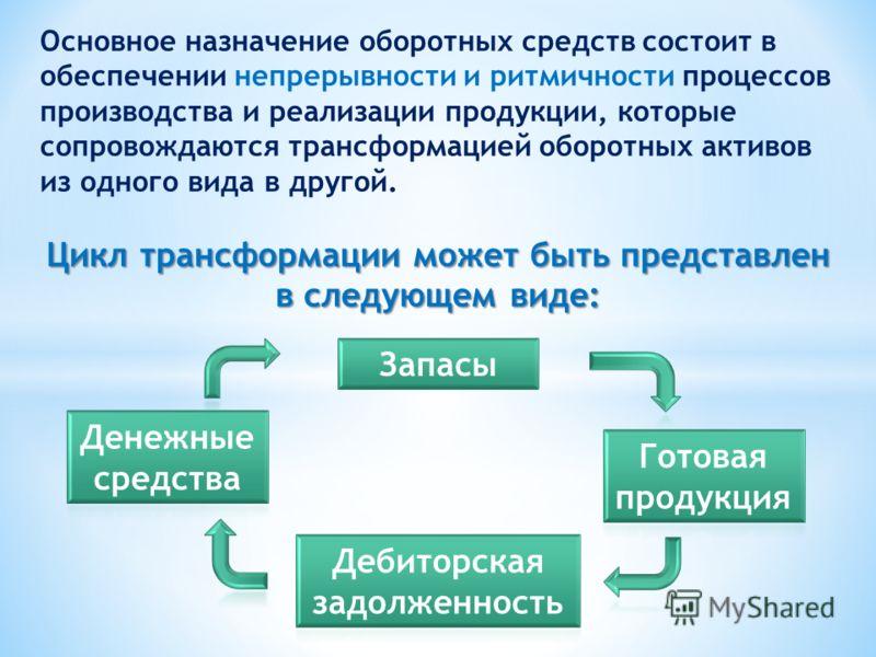 Основное назначение оборотных средств состоит в обеспечении непрерывности и ритмичности процессов производства и реализации продукции, которые сопровождаются трансформацией оборотных активов из одного вида в другой. Цикл трансформации может быть пред