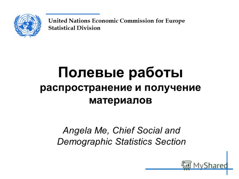 United Nations Economic Commission for Europe Statistical Division Полевые работы распространение и получение материалов Angela Me, Chief Social and Demographic Statistics Section