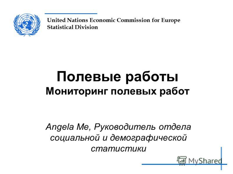 United Nations Economic Commission for Europe Statistical Division Полевые работы Мониторинг полевых работ Angela Me, Руководитель отдела социальной и демографической статистики