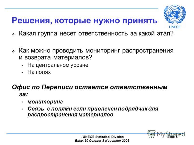 - UNECE Statistical Division Baku, 30 October-3 November 2006 Slide 5 Решения, которые нужно принять Какая группа несет ответственность за какой этап? Как можно проводить мониторинг распространения и возврата материалов? На центральном уровне На поля