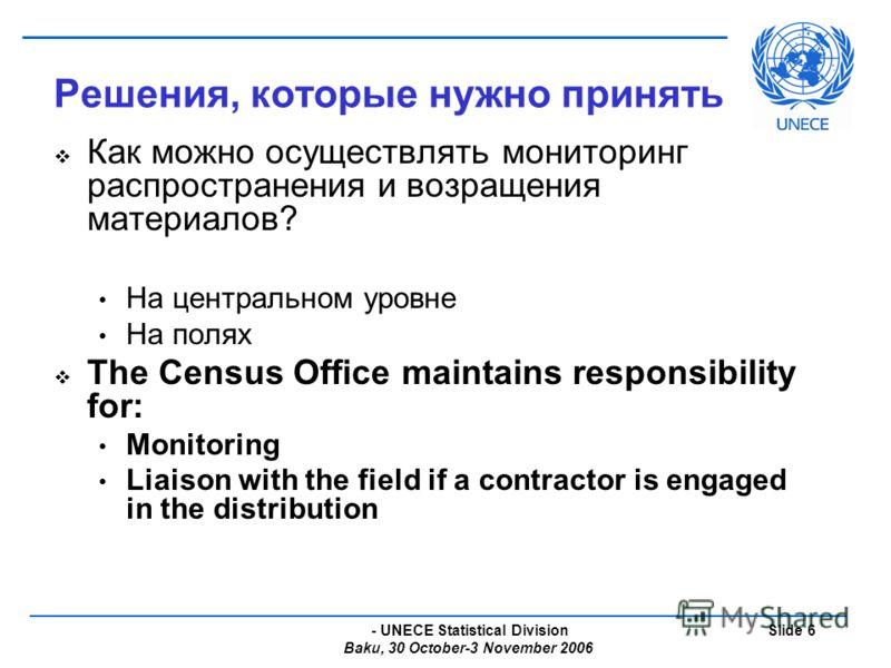 - UNECE Statistical Division Baku, 30 October-3 November 2006 Slide 6 Решения, которые нужно принять Как можно осуществлять мониторинг распространения и возращения материалов? На центральном уровне На полях The Census Office maintains responsibility