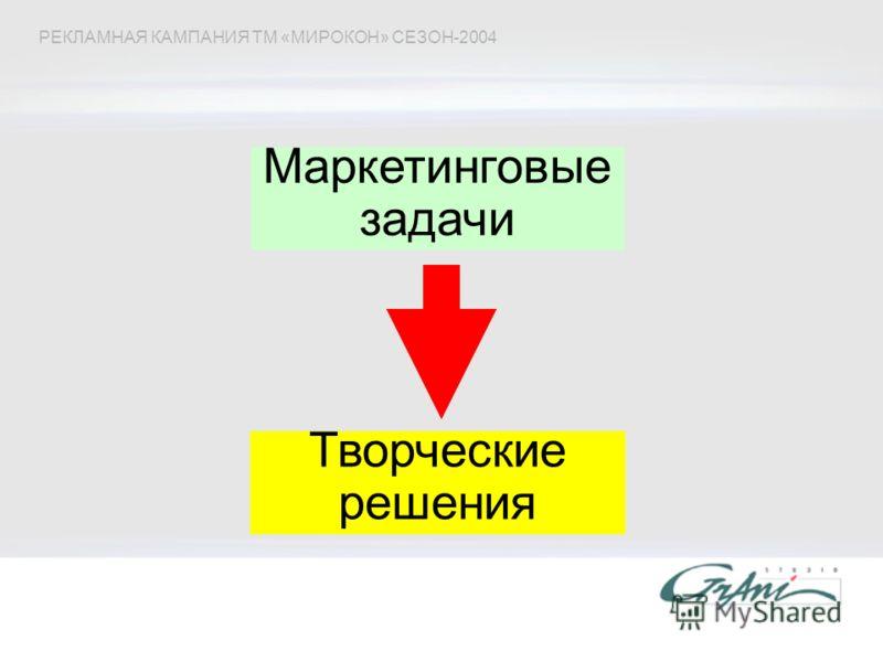 Маркетинговые задачи РЕКЛАМНАЯ КАМПАНИЯ ТМ «МИРОКОН» СЕЗОН-2004 Творческие решения