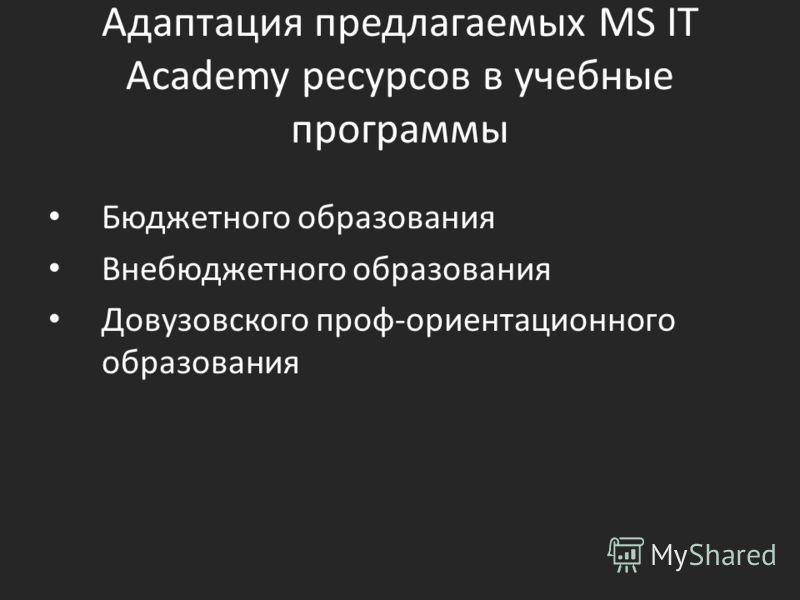 Адаптация предлагаемых MS IT Academy ресурсов в учебные программы Бюджетного образования Внебюджетного образования Довузовского проф-ориентационного образования