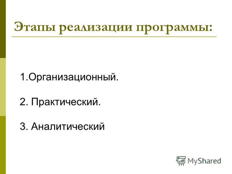 Этапы реализации программы: 1.Организационный. 2. Практический. 3. Аналитический