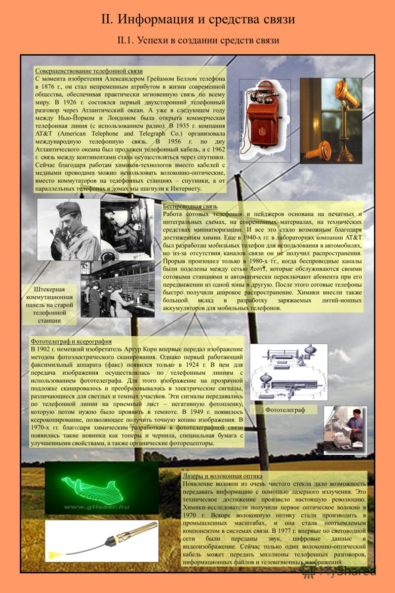 II.1. Успехи в создании средств связи Совершенствование телефонной связи С момента изобретения Александером Грейамом Беллом телефона в 1876 г., он стал непременным атрибутом в жизни современной общества, обеспечивая практически мгновенную связь по вс