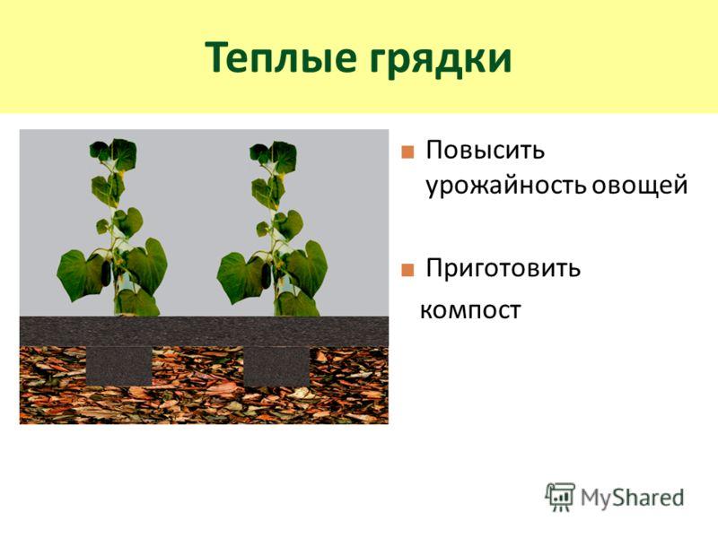 Повысить урожайность овощей Приготовить компост Теплые грядки