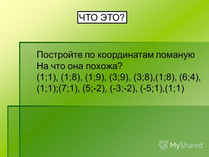 ЧТО ЭТО? Постройте по координатам ломаную На что она похожа? (1;1), (1;8), (1;9), (3;9), (3;8),(1;8), (6;4), (1;1);(7;1), (5;-2), (-3;-2), (-5;1),(1;1)