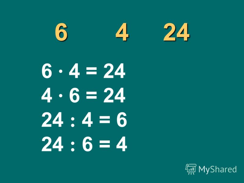 6 4 24 6 4 = 24 4 6 = 24 24 : 4 = 6 24 : 6 = 4