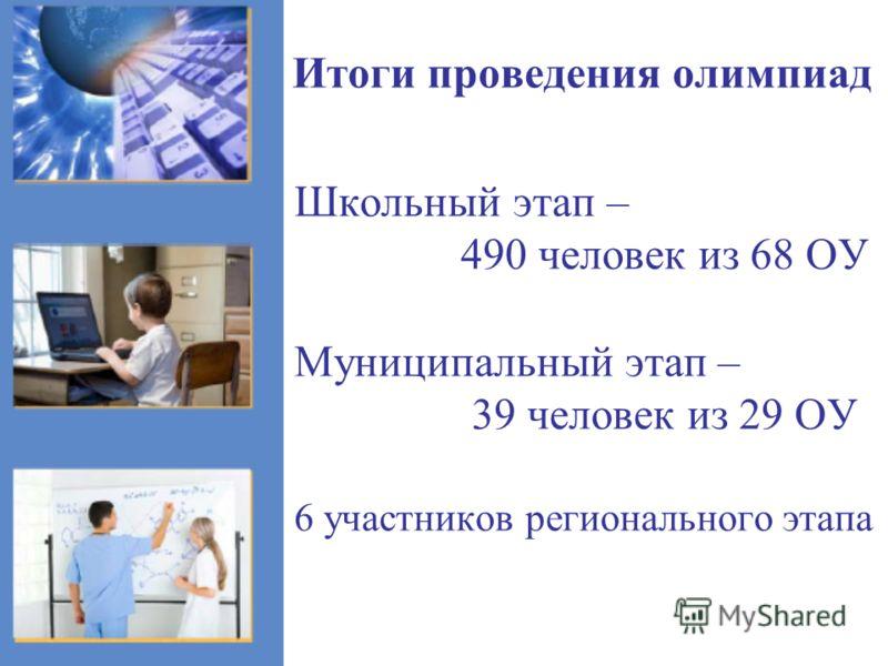 Итоги проведения олимпиад Школьный этап – 490 человек из 68 ОУ Муниципальный этап – 39 человек из 29 ОУ 6 участников регионального этапа