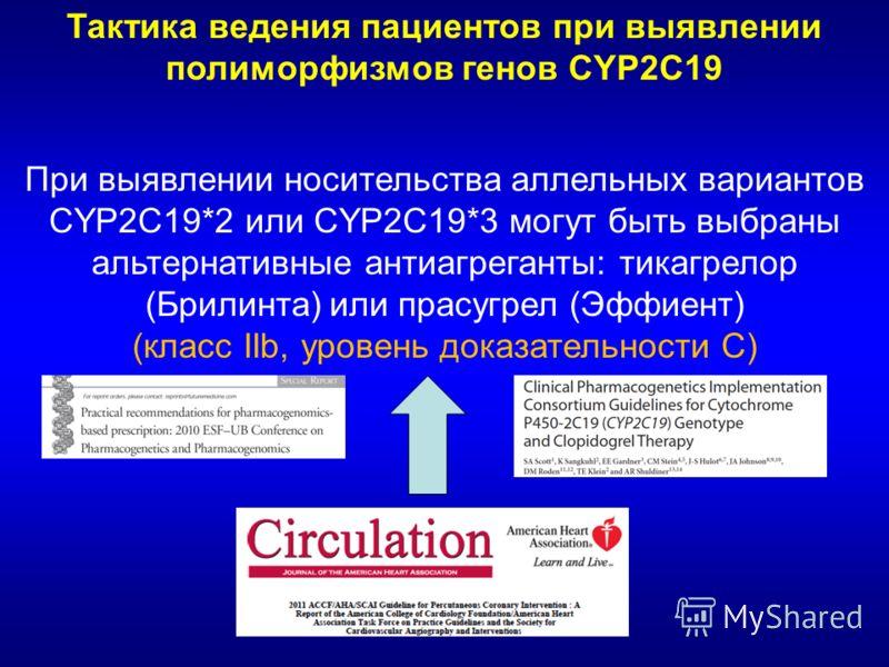 Тактика ведения пациентов при выявлении полиморфизмов генов CYP2C19 При выявлении носительства аллельных вариантов CYP2C19*2 или CYP2C19*3 могут быть выбраны альтернативные антиагреганты: тикагрелор (Брилинта) или прасугрел (Эффиент) (класс IIb, уров