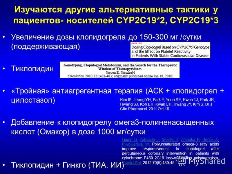 Изучаются другие альтернативные тактики у пациентов- носителей CYP2C19*2, CYP2C19*3 Увеличение дозы клопидогрела до 150-300 мг /сутки (поддерживающая) Тиклопидин «Тройная» антиагрегантная терапия (АСК + клопидогрел + цилостазол) Добавление к клопидог