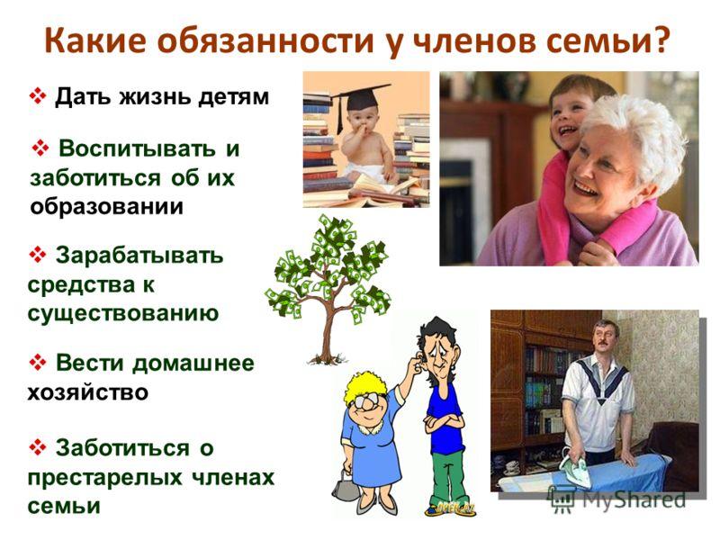 Какие обязанности у членов семьи? Дать жизнь детям Воспитывать и заботиться об их образовании Зарабатывать средства к существованию Заботиться о престарелых членах семьи Вести домашнее хозяйство