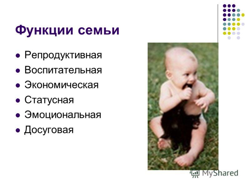 Функции семьи Репродуктивная Воспитательная Экономическая Статусная Эмоциональная Досуговая
