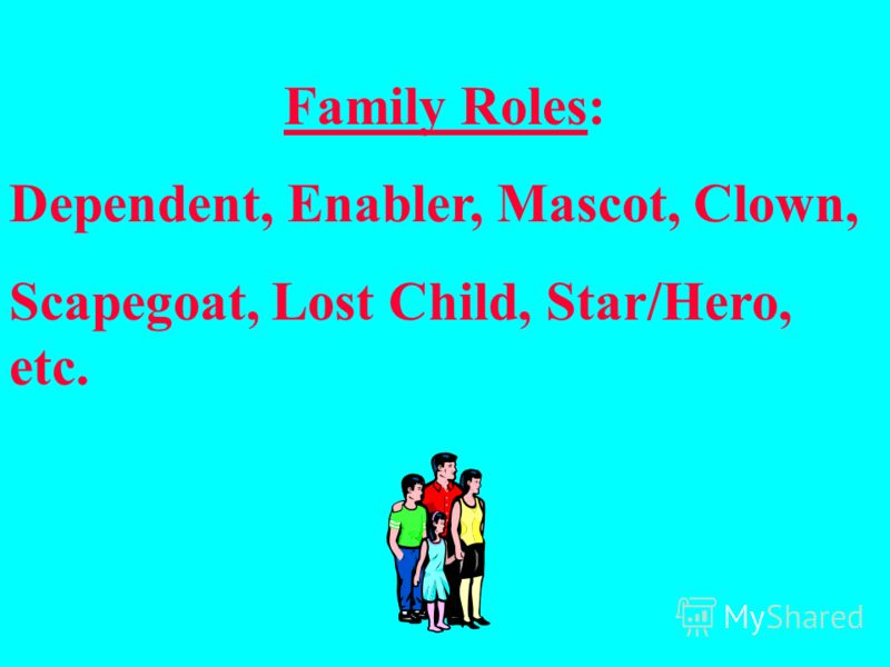 Family Roles: Dependent, Enabler, Mascot, Clown, Scapegoat, Lost Child, Star/Hero, etc.