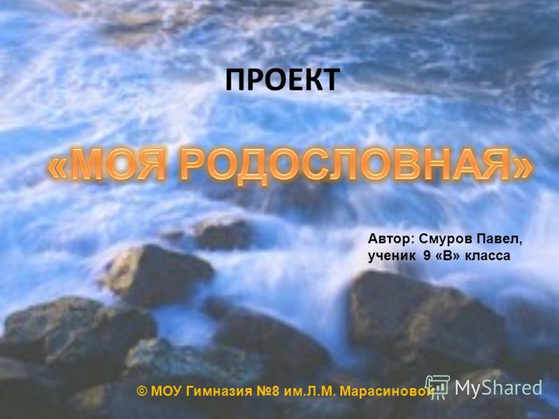 ПРОЕКТ Автор: Смуров Павел, ученик 9 «В» класса © МОУ Гимназия 8 им.Л.М. Марасиновой