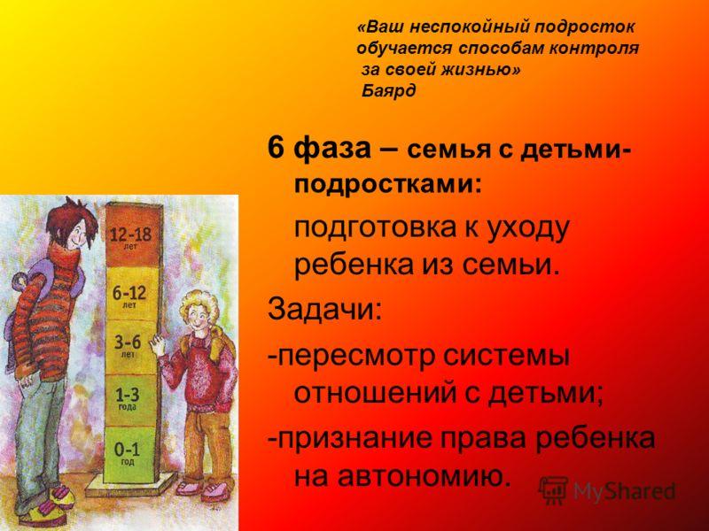 6 фаза – семья с детьми- подростками: подготовка к уходу ребенка из семьи. Задачи: -пересмотр системы отношений с детьми; -признание права ребенка на автономию. «Ваш неспокойный подросток обучается способам контроля за своей жизнью» Баярд
