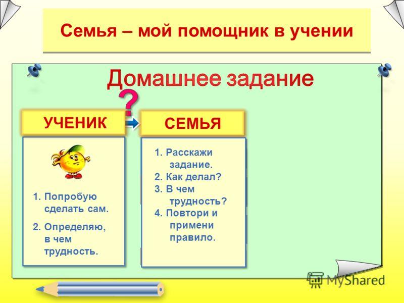 Семья – мой помощник в учении 2. Попрошу помочь найти способ Делаю сам 1. Попробую сделать сам. 2. Определяю, в чем трудность. УЧЕНИКСЕМЬЯ