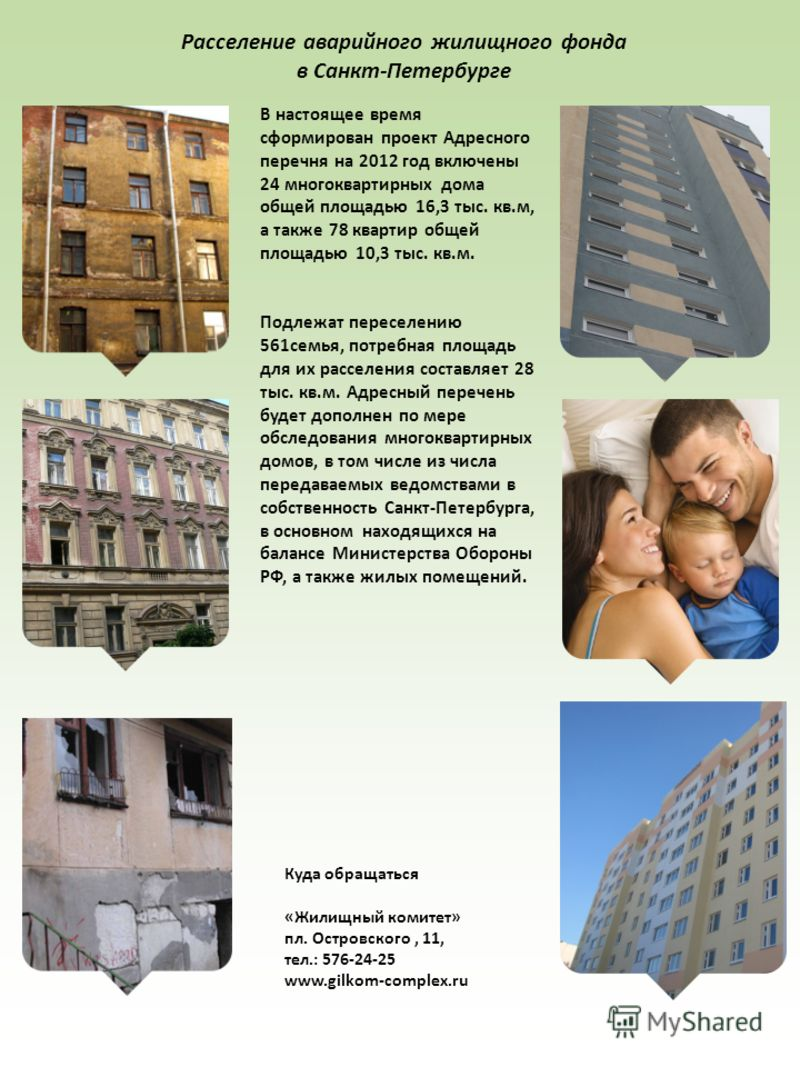 Расселение аварийного жилищного фонда в Санкт-Петербурге В настоящее время сформирован проект Адресного перечня на 2012 год включены 24 многоквартирных дома общей площадью 16,3 тыс. кв.м, а также 78 квартир общей площадью 10,3 тыс. кв.м. Подлежат пер
