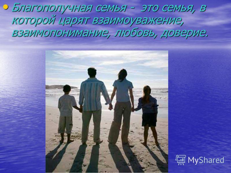 Благополучная семья - это семья, в которой царят взаимоуважение, взаимопонимание, любовь, доверие. Благополучная семья - это семья, в которой царят взаимоуважение, взаимопонимание, любовь, доверие.