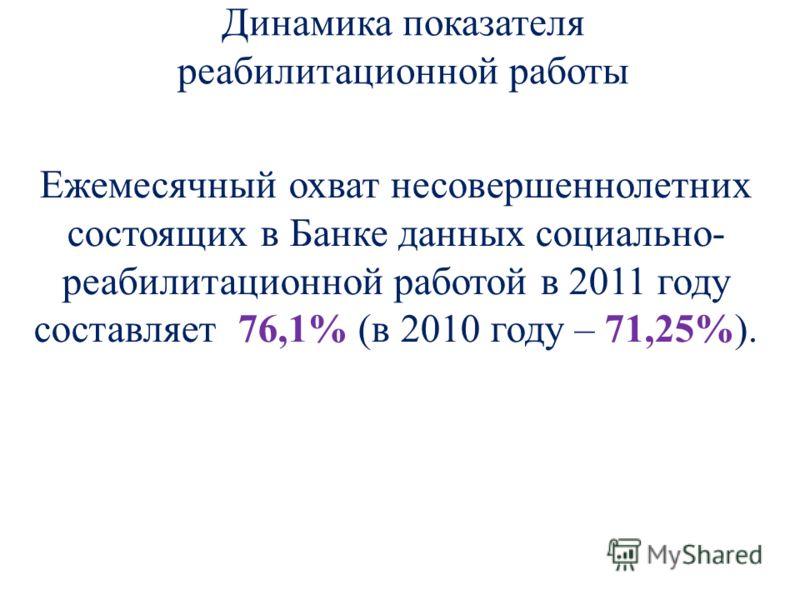 Динамика показателя реабилитационной работы Ежемесячный охват несовершеннолетних состоящих в Банке данных социально- реабилитационной работой в 2011 году составляет 76,1% (в 2010 году – 71,25%).