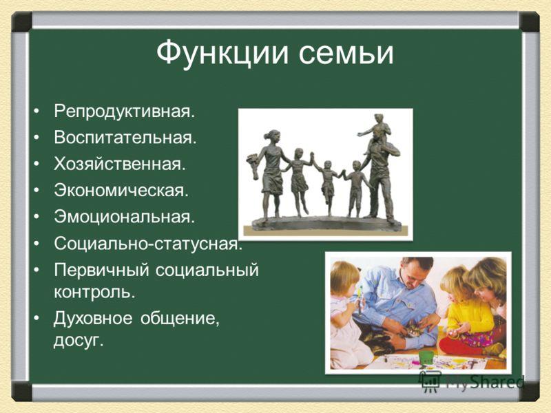 Функции семьи Репродуктивная. Воспитательная. Хозяйственная. Экономическая. Эмоциональная. Социально-статусная. Первичный социальный контроль. Духовное общение, досуг.