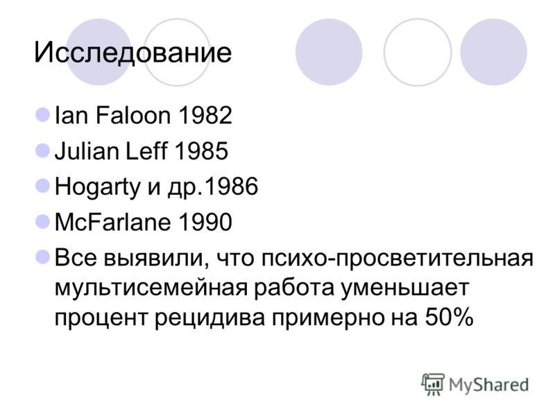 Исследование Ian Faloon 1982 Julian Leff 1985 Hogarty и др.1986 McFarlane 1990 Все выявили, что психо-просветительная мультисемейная работа уменьшает процент рецидива примерно на 50%