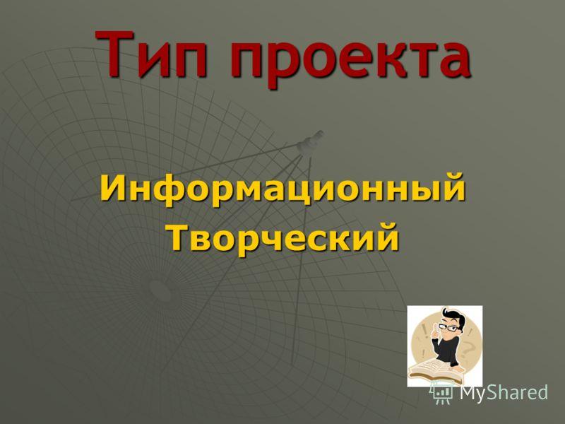 Тип проекта ИнформационныйТворческий