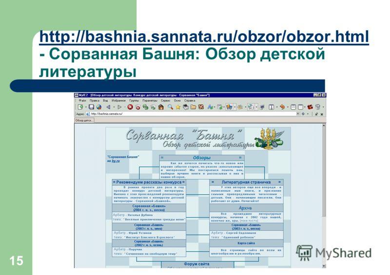 15 http://bashnia.sannata.ru/obzor/obzor.html http://bashnia.sannata.ru/obzor/obzor.html - Сорванная Башня: Обзор детской литературы