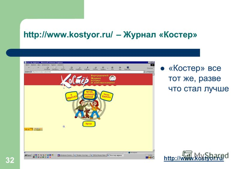 32 http://www.kostyor.ru/ – Журнал «Костер» «Костер» все тот же, разве что стал лучше http://www.kostyor.ru/