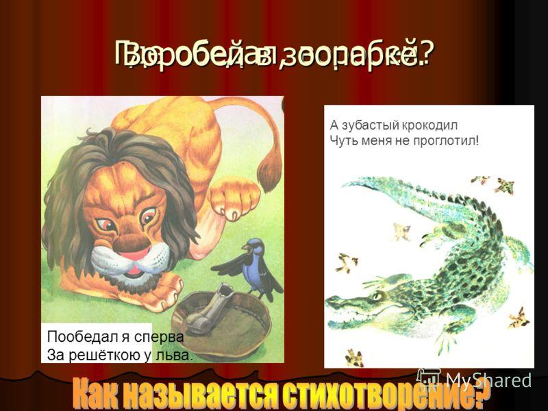Где обедал, воробей? Пообедал я сперва За решёткою у льва. Воробей в зоопарке. А зубастый крокодил Чуть меня не проглотил!