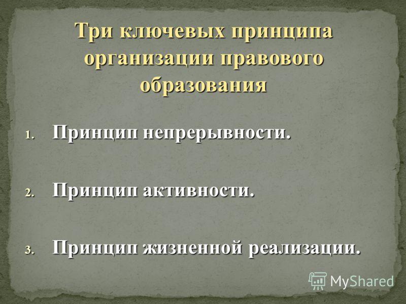 Три ключевых принципа организации правового образования 1. Принцип непрерывности. 2. Принцип активности. 3. Принцип жизненной реализации.