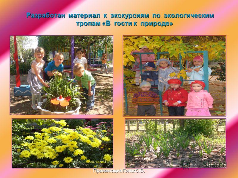 Презентация Голяк С.В. Разработан материал к экскурсиям по экологическим тропам «В гости к природе» Презентация Голяк С.В.