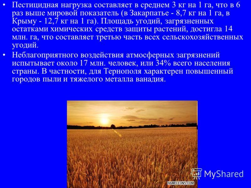Пестицидная нагрузка составляет в среднем 3 кг на 1 га, что в 6 раз выше мировой показатель (в Закарпатье - 8,7 кг на 1 га, в Крыму - 12,7 кг на 1 га). Площадь угодий, загрязненных остатками химических средств защиты растений, достигла 14 млн. га, чт