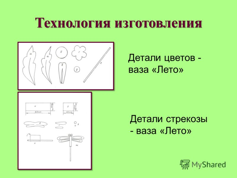 Технология изготовления Детали цветов - ваза «Лето» Детали стрекозы - ваза «Лето»