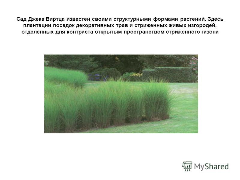 Сад Джека Виртца известен своими структурными формами растений. Здесь плантации посадок декоративных трав и стриженных живых изгородей, отделенных для контраста открытым пространством стриженного газона